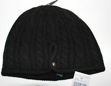 NWT RALPH LAUREN Women's Black Merino Wool Angora Blend Cable Knit Hat One Size