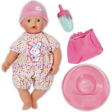 "My Little BABY Born 13"" Doll Bathing Fun And Potty Romper Hat Nappy Bottle Boxed"