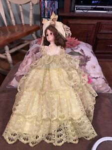 """Vintage 1963 Doll on Stand Eegee Doll Co 15"""" Yellow Fancy Lacy Dress & Bonnet"""