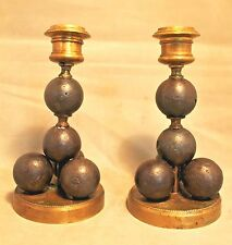 Pair French Canonball / Grapeshot Candle Brass & Iron Candlesticks c. 1820