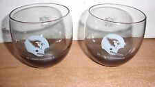 VINTAGE NFL SMOKE COLORED GLASSES ROLY POLY GLASS X2 ST ST LOUIS CARDINALS EUC