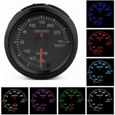 2'' 52mm Pointer Turbo Boost Gauge Stepper Motor 7 Color LED 12V Psi Meter Black