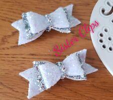 "Girls elegant handmade set of 2 white silver and diamante glitter 2.5"" bow clip"