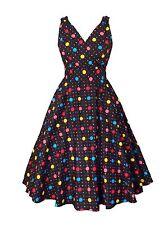 Womens Black Bright Polka Dot Cotton Retro Vintage 50s Swing Party Dress Size 12