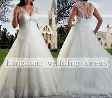 Custom Made White/Ivory Lace Wedding Dress Bridal Gown Plus Size 18 20 22 24 26+