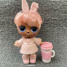 LOL Surprise Doll HairGoals Snow Bunny Fuzzy Rabbit Ears Pink Hair-Defect!!