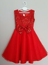 🎅 Girls Red Sequin Bow Special Occasion Dress Party Wedding Christmas Princess