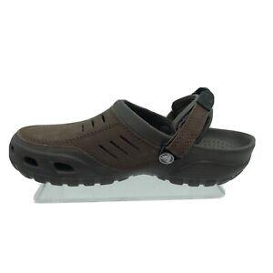 Crocs Men's Yukon Leather Clogs Sandals Brown Adjustable Closed Size 8M