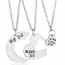 3 PIECE SILVER PLATED SISTER NECKLACE SET CHARM BIG MIDDLE LITTLE SIS #KC55