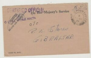 BRITISH FORCES IN MALTA 1959 FPO 76 (ST JAMES CAVALIER) COVER TO GIBRALTAR 81*