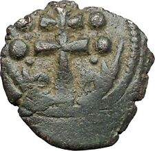 JESUS CHRIST Class H Anonymous Ancient 1071AD Byzantine Follis Coin CROSS i48087