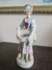 Antique Porcelain Figurine Girl With Fruit