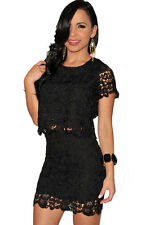 2 PCs Black Crochet Two Piece Party Club Mini Skirt Set Medium