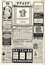 Herm. Behn Lübeck Damen- Wäsche Pfaff und Gritzner Nähmaschinen Diachylon...1908