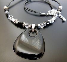 Silver Black Glass White Moonglow Lucite Bead Enamel Pendant Necklace FF44