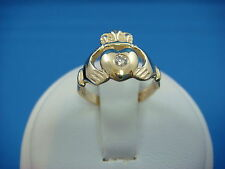 IRISH LADIES CLADDAGH RING-BAND WITH DIAMOND ORIGINAL MADE IN IRELAND 9K GOLD