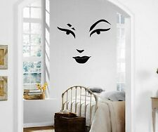 Wall Stickers Vinyl Decal Beautiful Woman's Face Lips Makeup Eyebrows ig1348