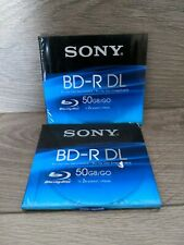 2x Sony BD-R DL Blu-ray Recordable Disc 50Gb 2x Speed New & Sealed