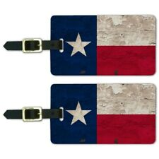 Rustic Texas State Flag Distressed USA Luggage ID Tags Carry-On Cards - Set of 2