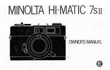 Minolta Hi-Matic 7sII Camera Instruction Manual: Reprint