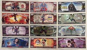 SUPERMAN BATMAN SPIDERMAN HULK FLASH AQUAMAN BATGIRL & MORE MILLION DOLLAR NOTES