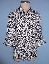 New Kathy Che NY Animal Print Semi Sheer Blouse 3/4 Sleeves Size S ( 6 - 8 )