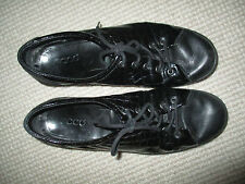 ECCO  MENS DESIGNER BLACK PATENT LEATHER CASUAL SHOES SZ 8  VGC
