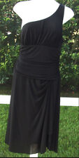 BCBG MAXAZRIA SOLID BLACK POLYESTER ONE SHOULDER COCKTAIL KNEE DRESS M NEW