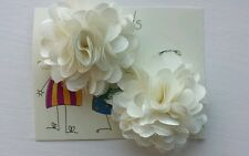 2 Girls small  2 inch Satin and mesh Flower ...Flower Hair Clip Ivory cream x 2