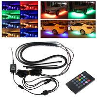 RGB LED Neon Light Strip Under Car Tube Underglow Underbody Glow System Remote