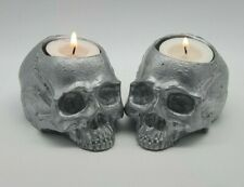SILVER Realistic Skull Tealight SET OF 2 Goth Halloween Candle Tea Light Holder