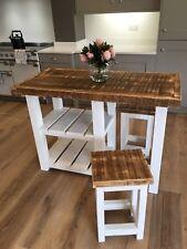 NEW RUSTIC FARMHOUSE KITCHEN ISLAND / TABLE 2 X STOOLS ~ 129 W x 64 D x 90 H