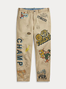 Polo Ralph Lauren Baggy Fit Varsity Collegiate Tigers Graphic Chino Pants New