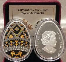 2019 Vegreville Ukrainian Pysanka $20 1OZ EggShaped PureSilver Proof Coin Canada
