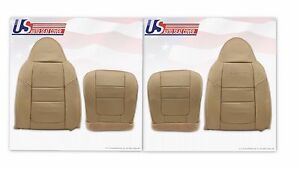 2001 Ford F250 Lariat Front Bottoms & Tops Leather Seat Covers Parchment TAN 4H