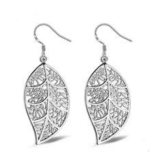 Sterling Silver Stunning Filled Women Filigree Leaf Earrings Gift