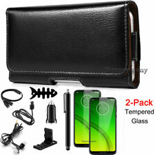 Black Leather Case Cover Pouch+Holster Belt Loop Clip For Motorola Moto G7 Phone