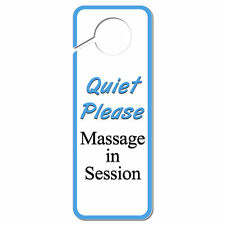 Quiet Please Massage in Session Plastic Door Knob Hanger Sign