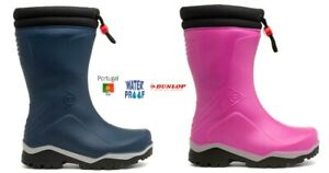 Kids Wellies Dunlop Blizzard Thermal lined Wellingtons Blue Pink Size 7 - 13