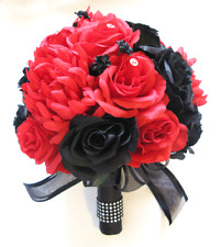 17 pc package Wedding Bouquet Bridal Silk artificial flowers BLACK RED  bouquets