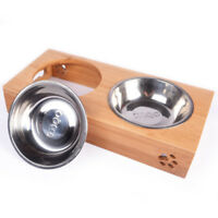 Double Dog Pet Bowls Dish Stainless Steel Stand Feeder Cat Food Water Bowl S L