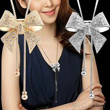 Hot Crystal Bowknot Pendant Long Necklace Rhinestone Butterfly Sweater Chain