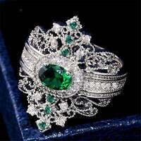 Fashion Women Wedding Rings Oval Cut Emerald 925 Silver Ring Size 6-10 Jewelry