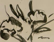 "JOSE TRUJILLO NEW Minimalist ACRYLIC on Paper PAINTING 11x14"" FLORAL"