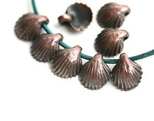 8pc Tiny Antique Copper Shell charm beads Small Metal Seashells Beach F582