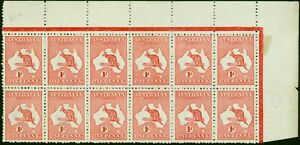 Australia 1913 1d Red SG2 in Very Fine MNH Corner Block of 12 Scarce Multiple