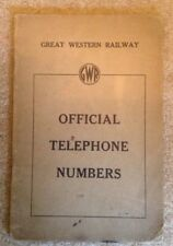 1930s Great Western Railway (GWR) Official Telephone Numbers Directory