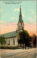 1908. ST. VINCENT CATHOLIC CHURCH. ELKHART, IND. POSTCARD ZT20