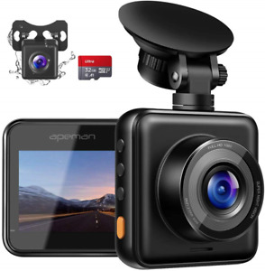 APEMAN Dual Lens Dash Cam for Cars Front and Rear with Night Vision and SD Card