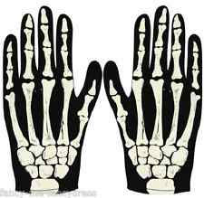 Ladies Mens Adult Black Skeleton Halloween Fancy Dress Costume Outfit Gloves